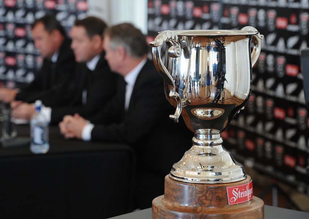 The Steinlager cup and selectors at the announcement of the New Zealand All Black rugby squad to meet Ireland in a three test series, Auckland, New Zealand, Sunday, June 03, 2012. Credit:SNPA / Ross Setford