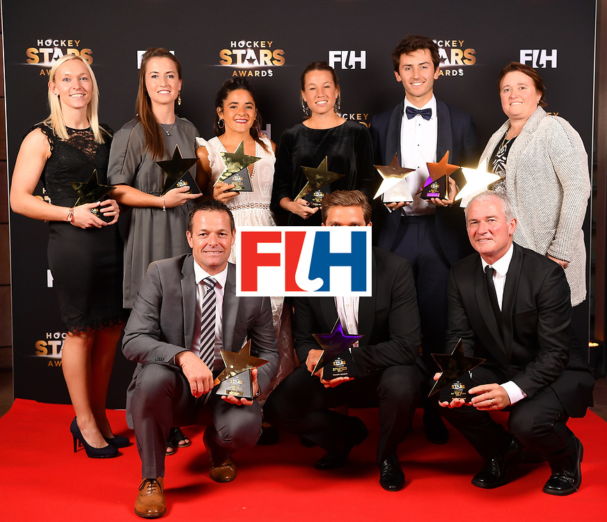 BERLIN, GERMANY - FEBRUARY 05:  The players, coaches and umpires of the year pose with their awards during the Hockey Star Awards night at Stilwerk on February 5, 2018 in Berlin, Germany.  (Photo by Stuart Franklin/Getty Images For FIH)