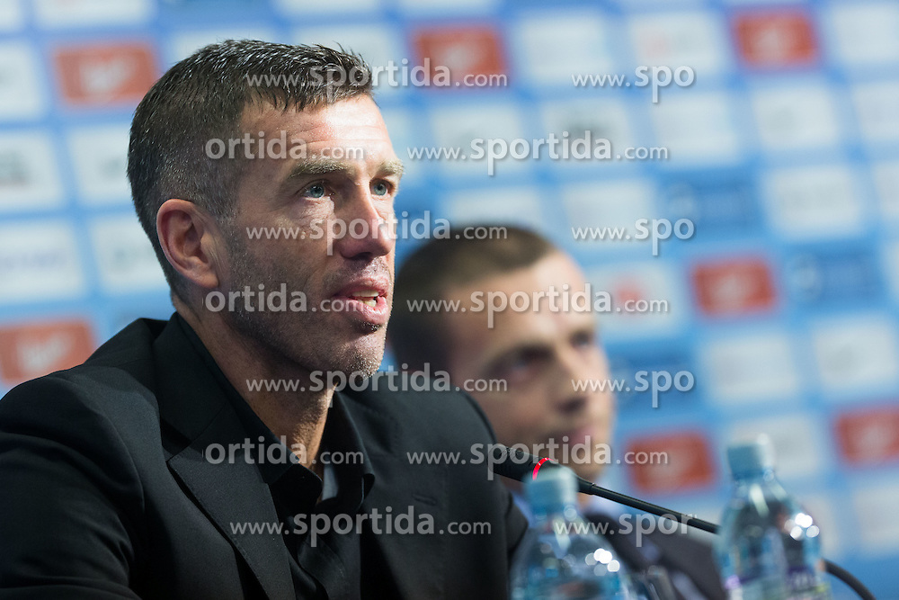 Srecko Katanec and in background Aleksander Ceferin at announcement of new head coach of Slovenian football national team Srecko Katanec at his introduction at press conference, on January 4, 2013 in Conference centre, Brdo pri Kranju, Slovenia. (Photo by Matic Klansek Velej / Sportida)