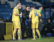 Mark Bower (Guiseley) gives some tactical advice during an injury break during the Conference Premier League match between FC Halifax Town and Guiseley at the Shay, Halifax, United Kingdom on 5 December 2015. Photo by Mark P Doherty.