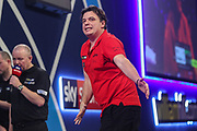 Benjamin Pratnemer reaction after missing a dart at a double during the PDC William Hill World Darts Championship at Alexandra Palace, London, United Kingdom on 19 December 2019.