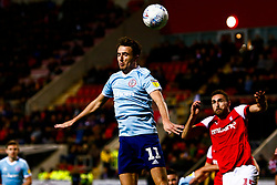 Sean McConville of Accrington Stanley gets a head to the ball - Mandatory by-line: Ryan Crockett/JMP - 16/11/2019 - FOOTBALL - Aesseal New York Stadium - Rotherham, England - Rotherham United v Accrington Stanley - Sky Bet League One