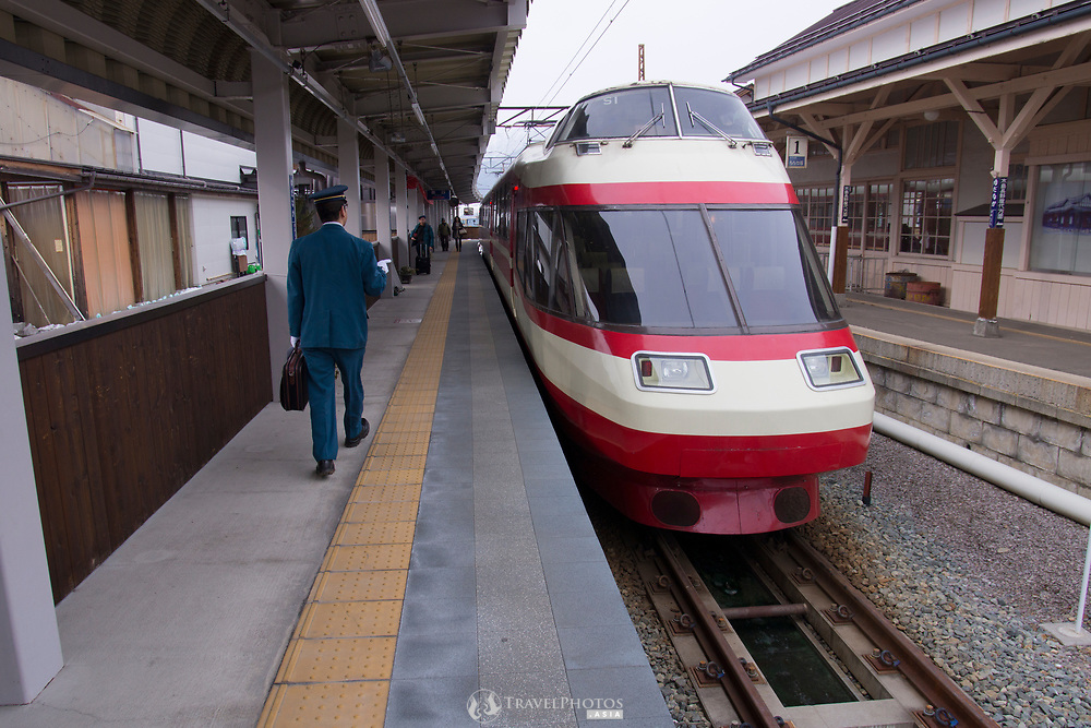 A train at the Yudanaka Station, Nagano.