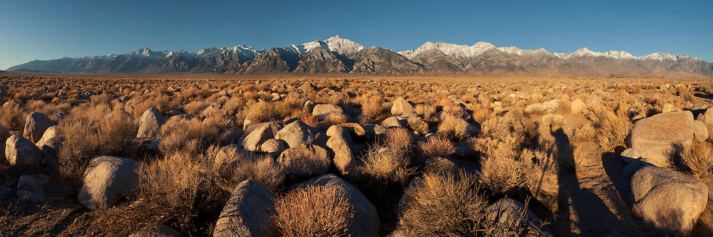 Rock field below the mountains of the Eastern Sierra, near Manzanar, California