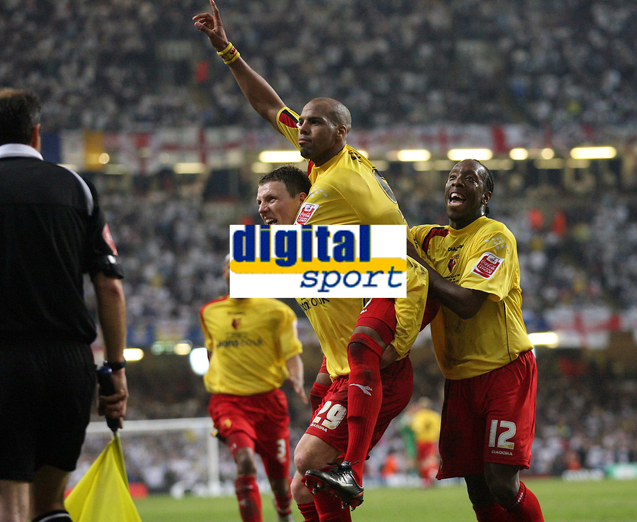 Photo: Rich Eaton.<br /> <br /> Leeds United v Watford. Coca Cola Championship. Play off Final. 21/05/2006.<br /> <br /> l-r Darius Henderson, Marlon King and Lloyd Doyley celebrate Watfords third goal from the penalty spot
