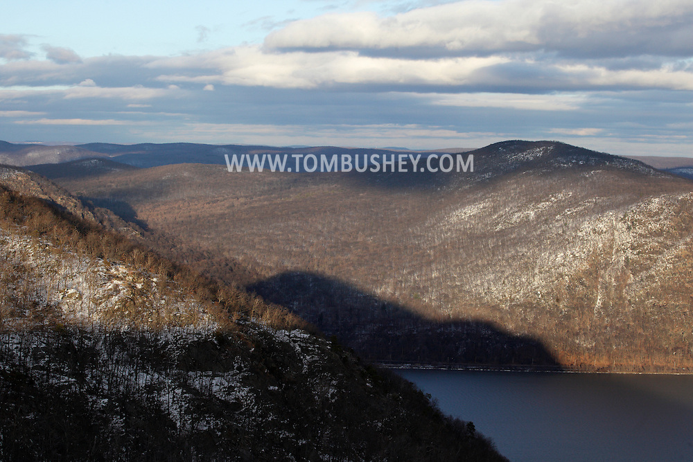 Cornwall, New York - A view of the Hudson Highlands on the west side, foreground at left, and east side of the Hudson River from Butter Hill in Storm King State Park on Feb. 20, 2010.