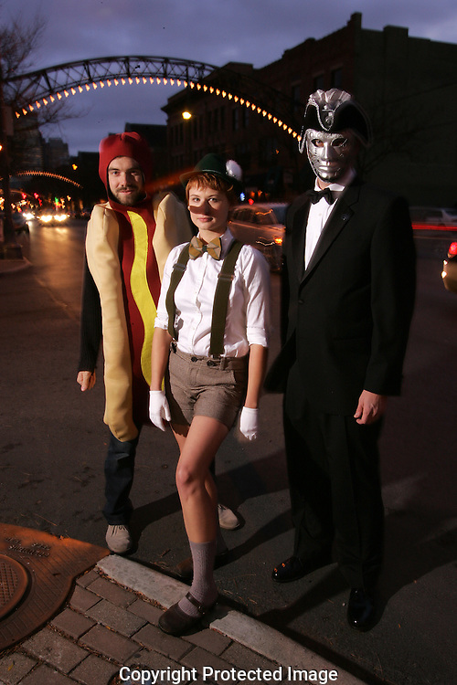 Business owners and friends prepare for the High Ball event Saturday night in the Short North.(Jodi Miller/Alive).Hot Dog Mike Nosan.Silver Mask Charly Baner.Pinochio: Hannah Adkins.