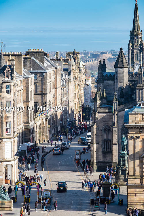 View down historic Royal Mile in Edinburgh Old Town, Scotland, United Kingdom