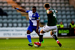 Victor Adeboyejo of Bristol Rovers is marked by Will Aimson of Plymouth Argyle - Mandatory by-line: Ryan Hiscott/JMP - 03/09/2019 - FOOTBALL - Home Park - Plymouth, England - Plymouth Argyle v Bristol Rovers - Leasing.com Trophy