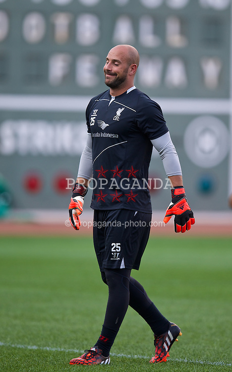 BOSTON, USA - Tuesday, July 22, 2014: Liverpool's goalkeeper Jose Reina during a training session at Fenway Park in Boston on two one of the club's USA Tour. (Pic by David Rawcliffe/Propaganda)