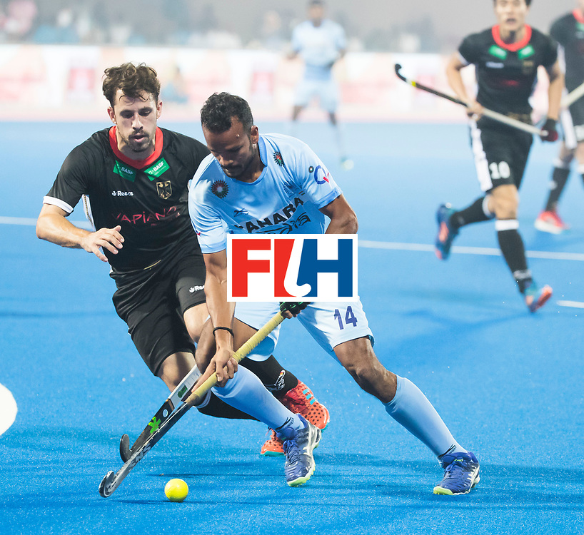 BHUBANESWAR - The Odisha Men's Hockey World League Final . Lalit Upadhyay (Ind) with Benedikt Fuerk (Ger)  during  the match India v Germany. WORLDSPORTPICS COPYRIGHT  KOEN SUYK