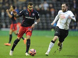 Readings Danny Williams battles with Derby Richard Keogh, Derby County v Reading, FA Cup 5th Round, The Ipro Stadium, Saturday 14th Febuary 2015