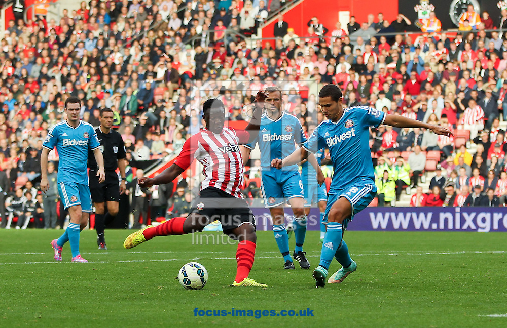Victor Wanyama (centre  left) of Southampton scores his sides seventh goal during the Barclays Premier League match at the St Mary's Stadium, Southampton<br /> Picture by Tom Smith/Focus Images Ltd 07545141164<br /> 18/10/2014