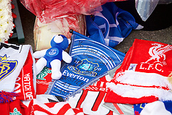 "LIVERPOOL, ENGLAND - Thursday, May 5, 2016: An Everton pennant with the message ""You picked on the wrong city, Justice at last"" left amongst the floral tributes at Liverpool's temporary memorial to the 96 victims of the Hillsborough disaster, pictured ahead of the UEFA Europa League Semi-Final 2nd Leg match against Villarreal at Anfield. (Pic by David Rawcliffe/Propaganda)"