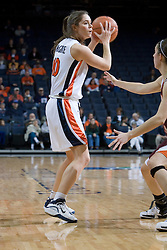 Virginia's Brenna McGuire (10) in action against VT.  The Virginia Tech Hokies overcame a 14 point Virginia lead to beat the Cavaliers 60-58 on their home court at the John Paul Jones Arena in Charlottesville, VA.
