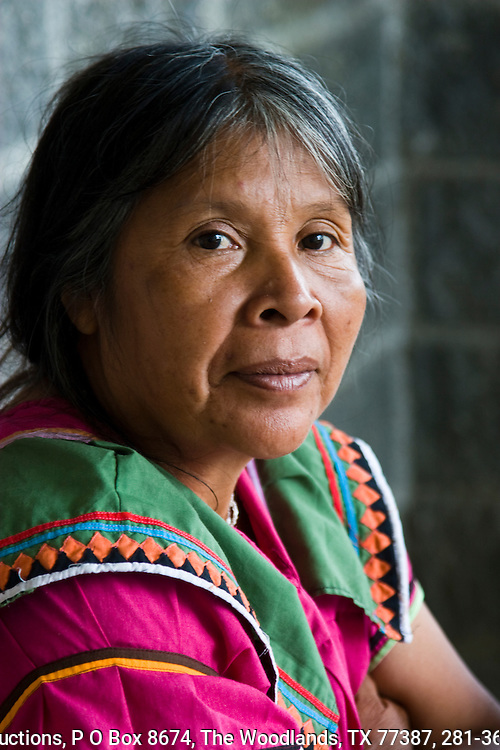 guaymi woman, member of the native tribe of Costa Rica, wilson Botanical Gardens, Organization for Tropical Studies property, near the Panama border, in southern Costa rica.