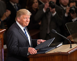 United States President Donald J. Trump delivers his first address to a joint session of the US Congress in the US Capitol in Washington, DC, USA, February 28, 2017. Photo by Chris Kleponis/CNP/ABACAPRESS.COM