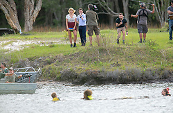 EXCLUSIVE: I'm A Celebrity stars Declan Donnelly and Holly Willoughby host a team canoe challenge at a bushland lake near Byron Bay in Australia Contestants were in team canoes, competing in a race to the middle of the lake to obtain a flag. The team then had to try and get their team, with their canoe, to the shore. The yellow team struggled, capsizing early in the game. 17 Nov 2018 Pictured: I'm A Celebrity stars Declan Donnelly and Holly Willoughby. Photo credit: Media Mode/Splash News/MEGA TheMegaAgency.com +1 888 505 6342