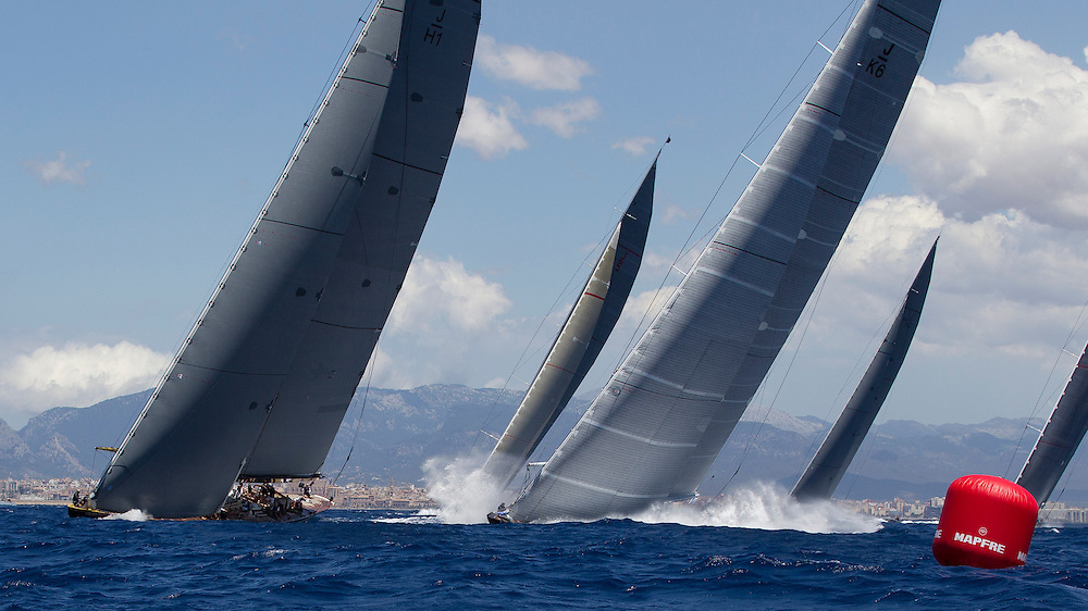 SPAIN, Palma. 19th June 2013. Superyacht Cup. J Class. Race One. The fleet approach the weather mark. L-R Lionheart, Ranger, Hanuman, Rainbow and Velsheda.