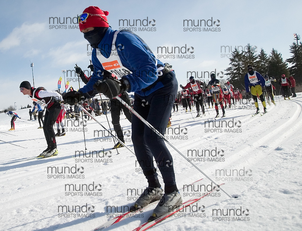 Ottawa, Ontario ---06/2/18--- Yves Cordere works hard at the start of her 53 km race at the Keskinada Loppet in Gatineau Park Saturday morning..GEOFF ROBINS The Ottawa Sun<br />