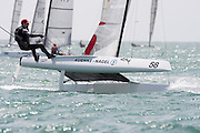 Thomas Paasch (DEN1), race three of the A Class World championships regatta being sailed at Takapuna in Auckland. 12/2/2014