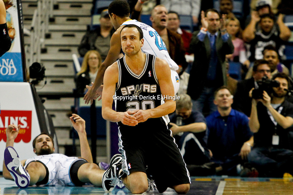 Jan 7, 2013; New Orleans, LA, USA; San Antonio Spurs shooting guard Manu Ginobili (20) reacts during the fourth quarter of a game against the New Orleans Hornets at the New Orleans Arena. The Hornets defeated the Spurs 95-88. Mandatory Credit: Derick E. Hingle-USA TODAY Sports