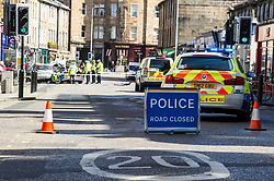 Pictured: <br /> Four cars were involved in an accident in the popular area of Stcokbridge today with thankfully only one person taken to hospital.  It appears that a Mercedes Benz was pulling out of a poarking soace on Raeburn Place and hit an oncoming BMW police car which then swerved into the opposite side of the roads and hit a Nissan which shunted forward in to another car.  One female police officer who was a passenger in the BMW was taken to hospital to check her injured hand<br /> <br /> <br /> Ger Harley | EEm 8 May 2017