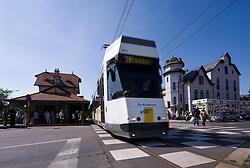 The coastal tram departs from the station in De Haan, Belgium, on it's way to Knokke, Belgium, Sunday, Sept. 14, 2008. (Photo © Jock Fistick)