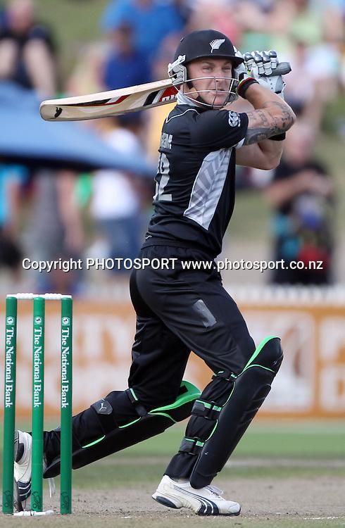 Brendon McCullum batting.<br />3rd one day international. New Zealand Black Caps versus Australia one day Chappell Hadlee cricket series. Seddon Park, Auckland, New Zealand. Tuesday 9 March 2010. Photo: Andrew Cornaga/PHOTOSPORT
