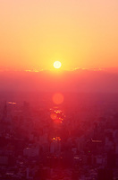 Sunrise over the city of Sapporo, Hokkaido, Japan, as seen from the summit of Mt Maruyama.