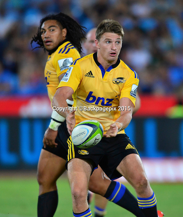 Beauden Barrett of the Hurricanes during the 2015 Super Rugby rugby match between the Bulls and the Hurricanes at Loftus Versfeld in Pretoria, South Africa on February 20, 2015 ©/BackpagePix