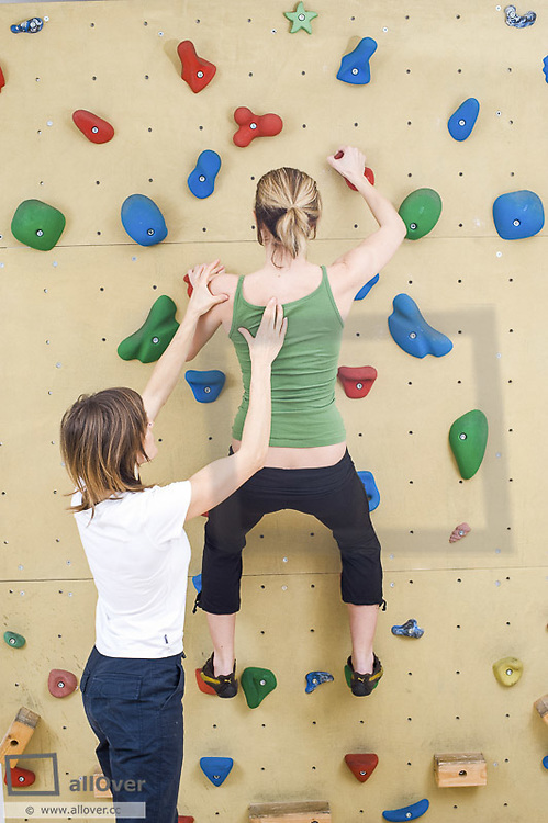 Climbing therapy, stabilisation shoulder, misposition (model-released)