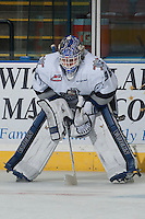KELOWNA, CANADA - NOVEMBER 5: Coleman Vollrath #35 of Victoria Royals gets in the zone during warm up against the Kelowna Rockets on November 5, 2014 at Prospera Place in Kelowna, British Columbia, Canada.  (Photo by Marissa Baecker/Shoot the Breeze)  *** Local Caption *** Coleman Vollrath;