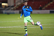 Forest Green Rovers Gavin Gunning(16) warming up during the EFL Sky Bet League 2 match between Crewe Alexandra and Forest Green Rovers at Alexandra Stadium, Crewe, England on 20 March 2018. Picture by Shane Healey.
