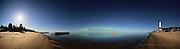 Northern Lights aurora borealis, moon, and Crisp Point Lighthouse over Lake Superior, 180 degree panorama. Epson International Pano Bronze Award Winner, 2012