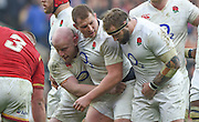 Twickenham. Great Britain.<br /> England front row, left, Dan COLE, centre, Dylan HARTLEY and right, Joe MARLER, during the <br /> RBS Six Nations Rugby, England vs Wales at the RFU Twickenham Stadium. England.<br /> <br /> Saturday  12/03/2016 <br /> <br /> [Mandatory Credit; Peter Spurrier/Intersport-images]