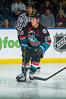 KELOWNA, CANADA - OCTOBER 13: Conner Bruggen-Cate #20 of the Kelowna Rockets skates against the Tri-City Americans on October 13, 2018 at Prospera Place in Kelowna, British Columbia, Canada.  (Photo by Marissa Baecker/Shoot the Breeze)  *** Local Caption ***