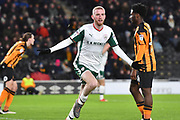 Barnsley FC midfielder Oliver McBurnie (15) celebrates scoring goal to go 0-1 during the EFL Sky Bet Championship match between Hull City and Barnsley at the KCOM Stadium, Kingston upon Hull, England on 27 February 2018. Picture by Ian Lyall.