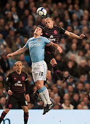 24.03.2010, City of Manchester Stadium, Manchester, ENG, PL, Manchester City FC vs Everton FC im Bild Everton's John Heitinga and Manchester City's Gareth Barry, EXPA Pictures © 2010, PhotoCredit: EXPA/ Propaganda/ D. Rawcliffe / SPORTIDA PHOTO AGENCY