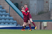 Kieran Edwards is congratulated after scoring for Harris -  St.John's v Harris in the U15 Senior Sports Cup Final (sponsored by DSA) at Dens Park, Dundee<br /> <br /> <br />  - &copy; David Young - www.davidyoungphoto.co.uk - email: davidyoungphoto@gmail.com