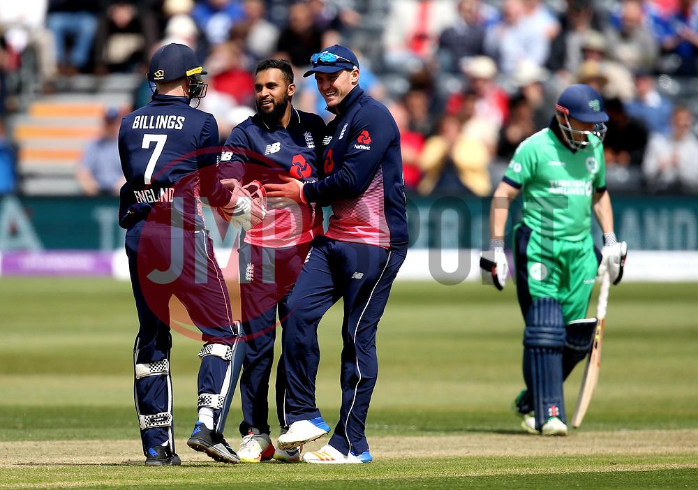 Adil Rashid of England celebrates taking the wicket of Stuart Thompson of Ireland - Mandatory by-line: Robbie Stephenson/JMP - 05/05/2017 - CRICKET - Brightside County Ground - Bristol, United Kingdom - England v Ireland - Royal London One Day Cup