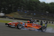 The Toyota Racing Series car of Invercargill's Damon Leitch locks a wheel during qualifying for the NZ Grand Prix at the Fujitsu 200 at Manfeild Autocourse on 11 February 2012. The Fujitsu 200 is part of the New Zealand Premier Race Championship Series.