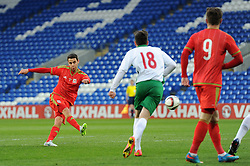 Tom O'Sullivan of Wales u21s (Cardiff City) scores a goal to make it 2-0 - Photo mandatory by-line: Dougie Allward/JMP - Mobile: 07966 386802 - 31/03/2015 - SPORT - Football - Cardiff - Cardiff City Stadium - Wales v Bulgaria - U21s International Friendly