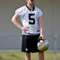 Jul 26, 2013; Metairie, LA, USA; New Orleans Saints kicker Garrett Hartley (5) during the first day of training camp at the team facility. Mandatory Credit: Derick E. Hingle-USA TODAY Sports