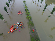 BIJIE, CHINA - JUNE 28: <br /> <br /> Aerial view of rescue work in the flood caused by heavy rain in Zhijin County on June 28, 2016 in Bijie, Guizhou Province of China. Over 10 hours continuous heavy rain caused 2 people died, 1 still missing and the direct economic loss of 115.62 million yuan (about 17.39 million USD) till Tuesday in Zhijin County, Guizhou Province.<br /> ©Exclusivepix Media