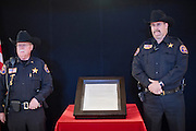 Feb. 20, 2010 -- PHOENIX, AZ:  Members of the Arizona Rangers, a volunteer law enforcement agency in Arizona, guard one of the remaining original copies of the Declaration of Independence in the historic former Arizona State Capitol in Phoenix. Only 26 copies of the original Declaration of Independence are known to exist today after 200 were printed by John Dunlap, a colonial era printer, who was ordered to print the Declaration by the Continental Congress in 1776. Most of them are housed at universities, public libraries, city halls or other government institutions. The copy brought to Phoenix, the 25th of the 200, was found in 1989, tucked behind a painting bought at a flea market for $4, according to the Pearson Foundation, a non-profit organization that supports education efforts. It is owned by film and TV producer Norman Lear and a friend. They are making the declaration available for public viewing through the Declare Yourself Foundation, which focuses on registering people ages 18 to 29 to vote and getting them involved in local and national elections.     Photo by Jack Kurtz