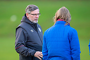 Craig Levein, manager of Heart of Midlothian discusses tactics with Austin MacPhee, assistant manager of Heart of Midlothian, whilst at training ahead of the visit of Rangers in the Scottish Premiership on 1st December 2018, at Oriam Sports Performance Centre, Riccarton, Scotland on 30 November 2018.