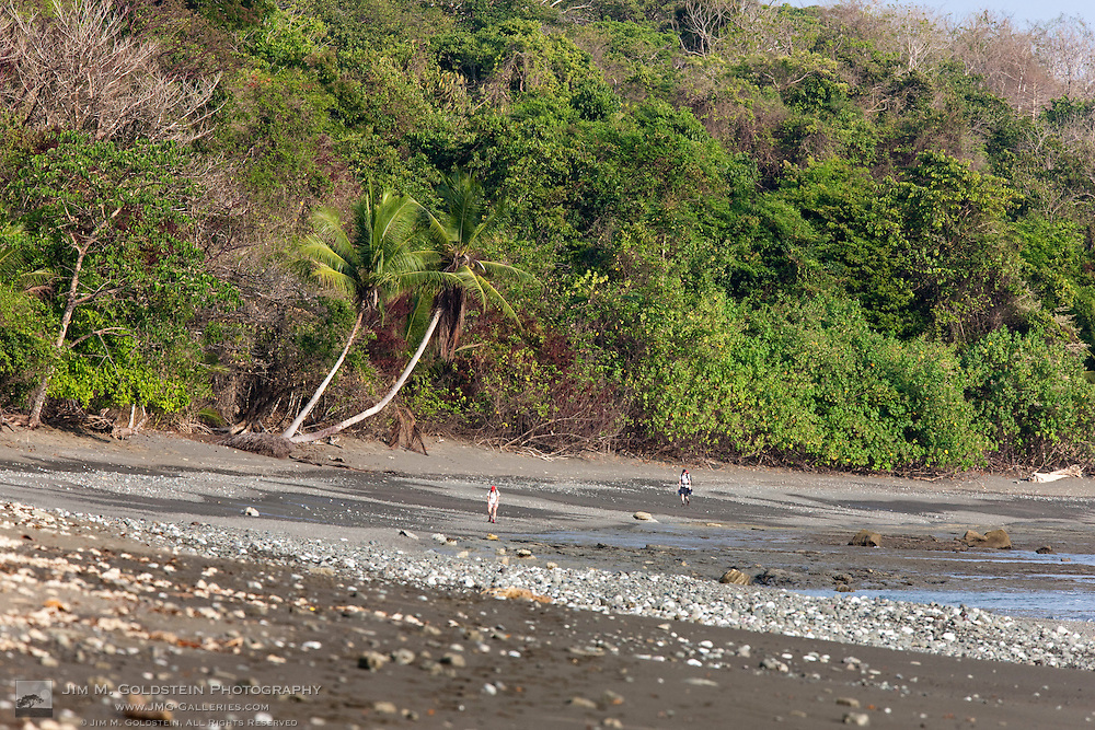 Backpackers hiking on the Beach toward Sirena Biological Station in Corcovado National Park, Costa Rica