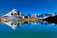 Mountain impression Lac Blanc with Aiguille Vert, Aiguilles de Chamonix - Europe, France, Haute Savoie, Aiguilles Rouges, Chamonix, Lac Blanc - Afternoon - September 2008
