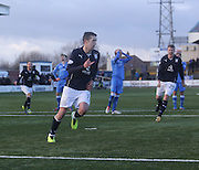 Ryan Conroy turns away to celebrate after scoring the winner from the penalty spot - Queen of South v Dundee, SPFL Championship at Palmerston Park <br /> <br /> <br />  - &copy; David Young - www.davidyoungphoto.co.uk - email: davidyoungphoto@gmail.com